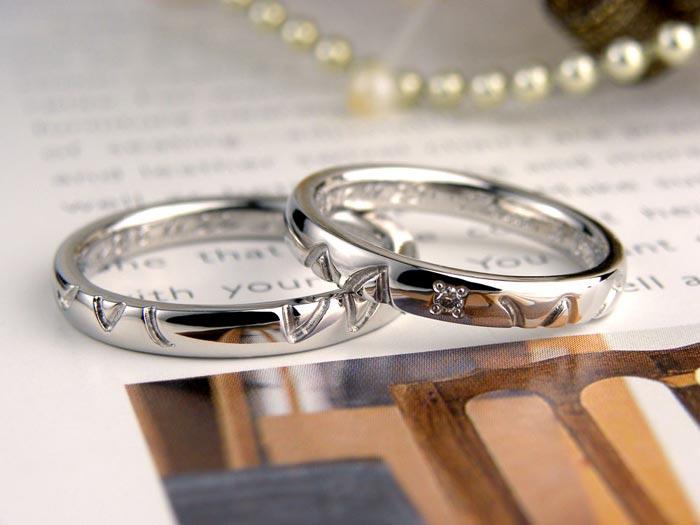 自作でイニシャルを彫った手作り結婚指輪
