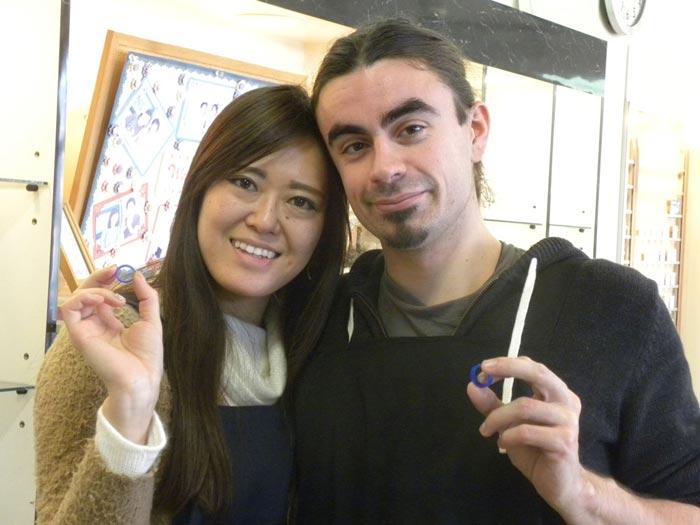 フランスの彼と来店した手作り結婚指輪お客様