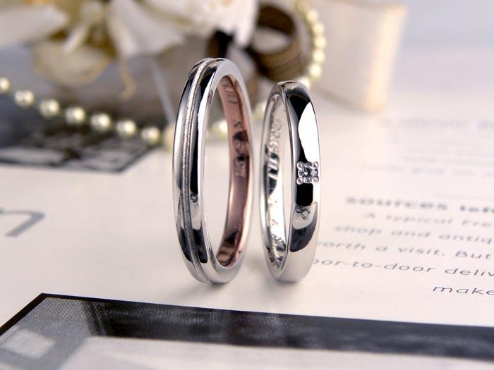 内側ピンクブラウンの手作り結婚指輪