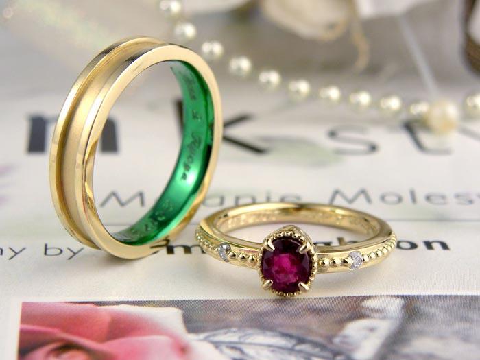 イエローゴールドで拘りルビーの手作り結婚指輪