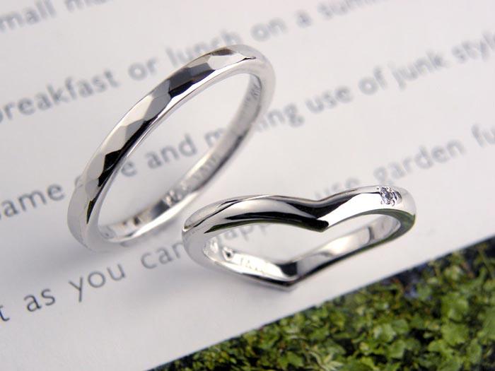 槌目とハートの手作り結婚指輪