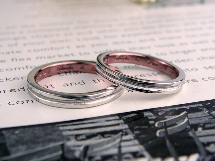 内側ピンクブラウン手作り結婚指輪
