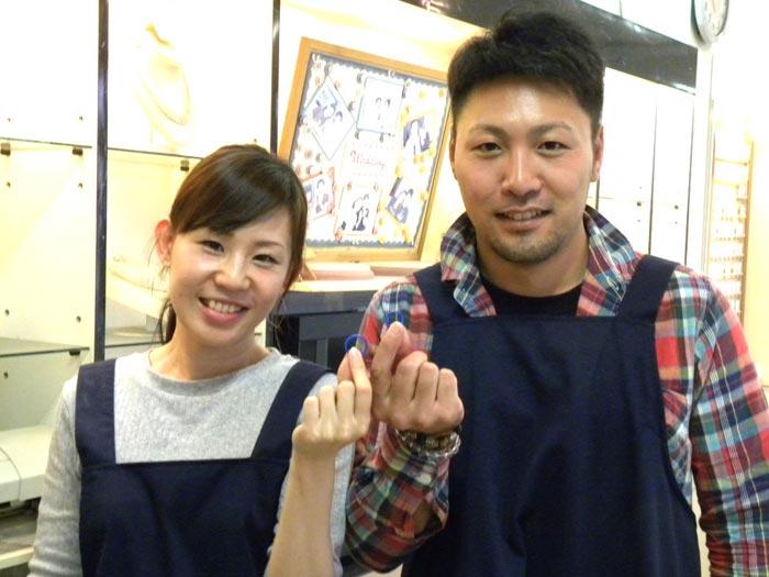 結婚指輪手作り来店の二人