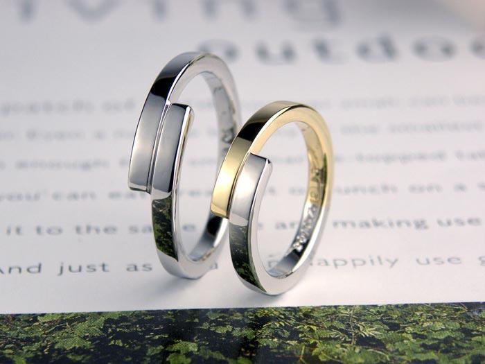 互い違いに繋がったコンビ手作り結婚指輪