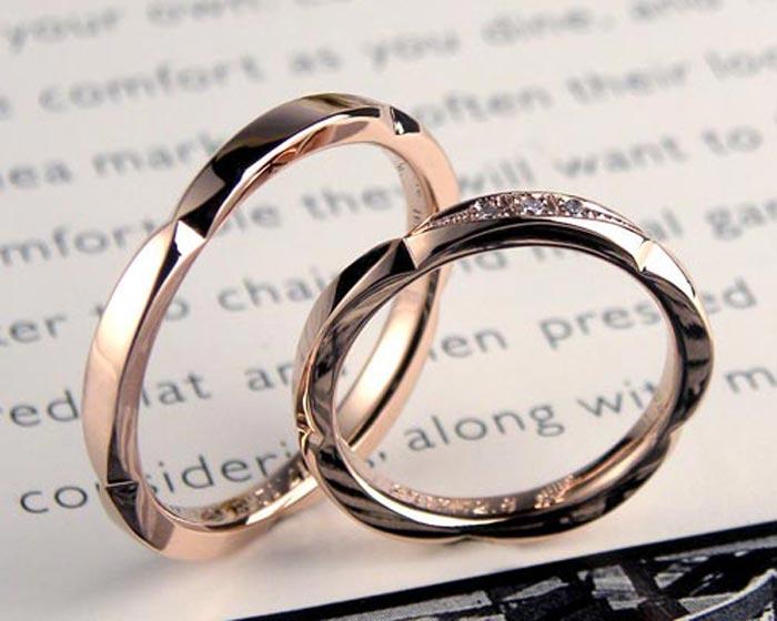 ピンクゴールド花形手作り結婚指輪