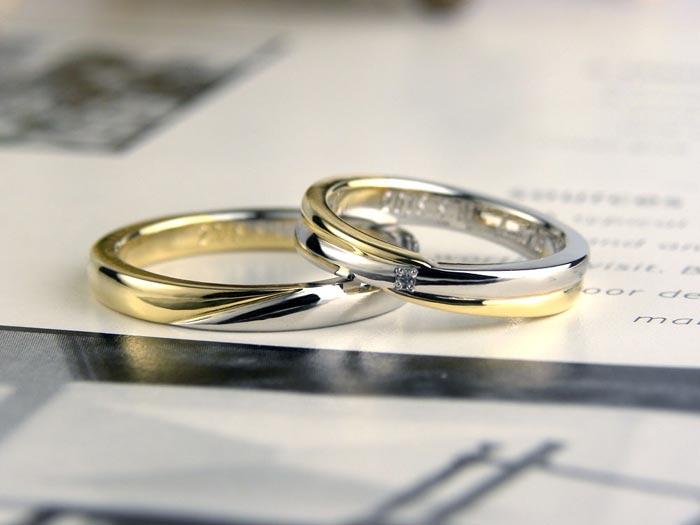 プラチナとゴールドのコンビ手作り結婚指輪