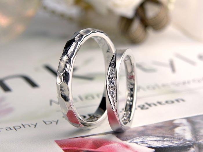 凸凹とエレガントな手作り結婚指輪