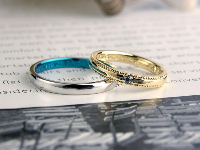 ブルーとミル打ちの手作り結婚指輪