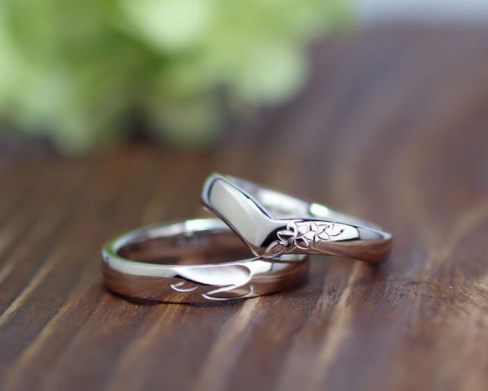 プルメリアと亀の手作り結婚指輪
